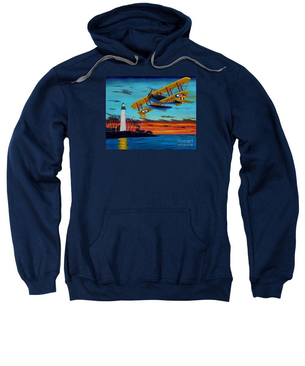 Plane Sweatshirt featuring the painting Buzzing The Light by Anthony Dunphy