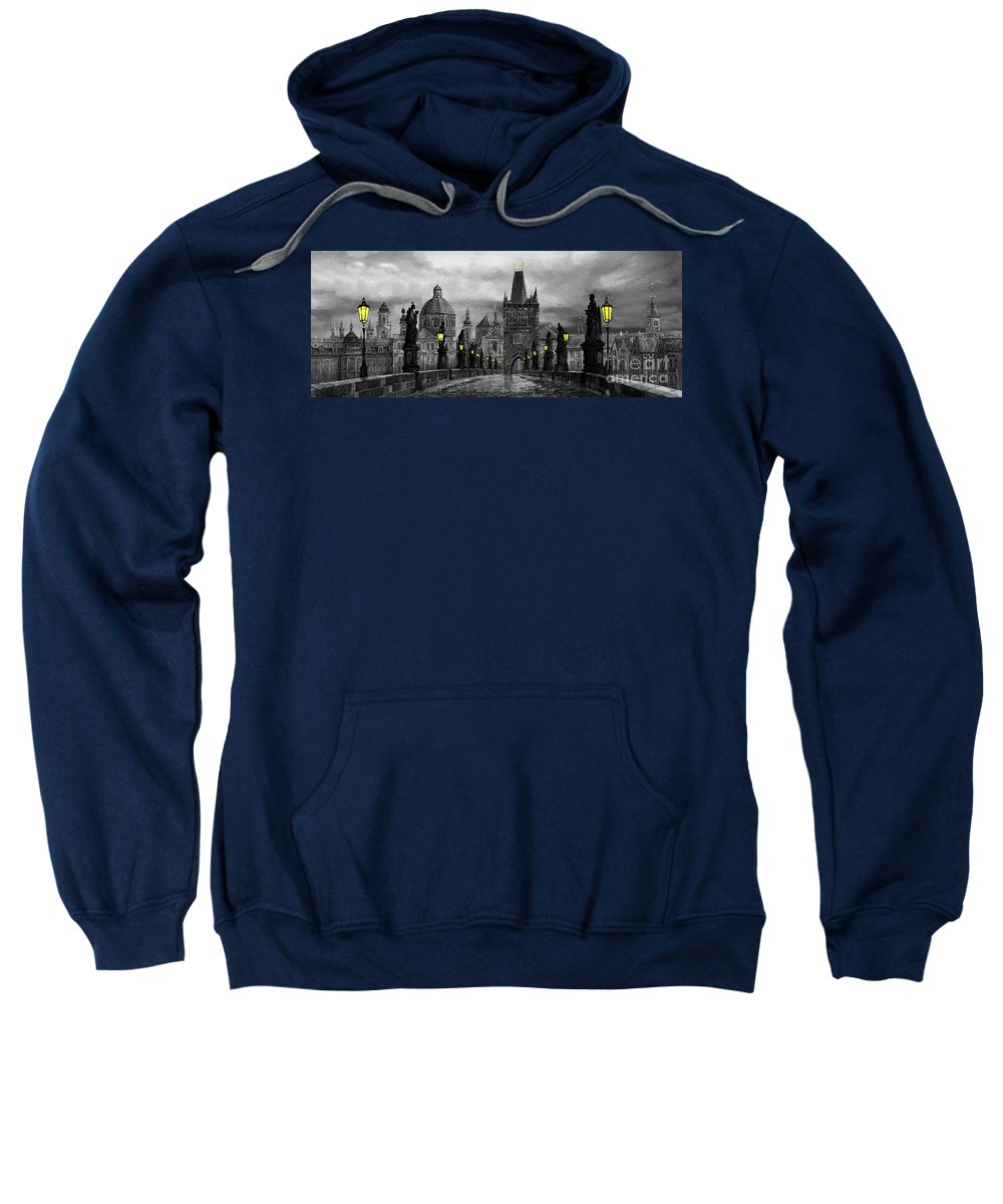 Prague Sweatshirt featuring the painting Bw Prague Charles Bridge 04 by Yuriy Shevchuk