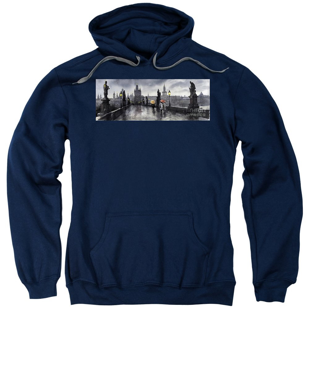 Prague Sweatshirt featuring the painting Bw Prague Charles Bridge 05 by Yuriy Shevchuk