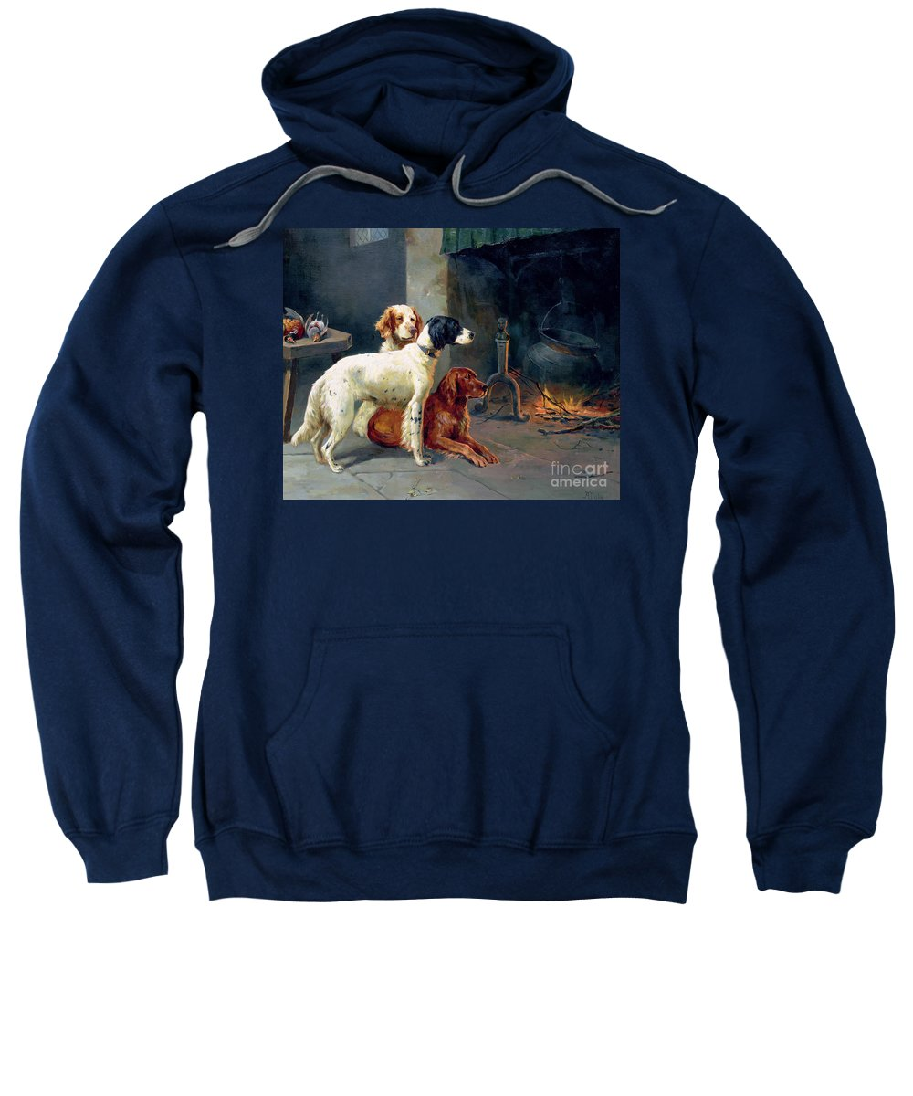 Dogs; Pheasants; Gundogs; Hearth; Cooking Pot; Irons; Irish Red Setter; English Setter; Working Dog Sweatshirt featuring the painting By The Fire by Alfred Duke
