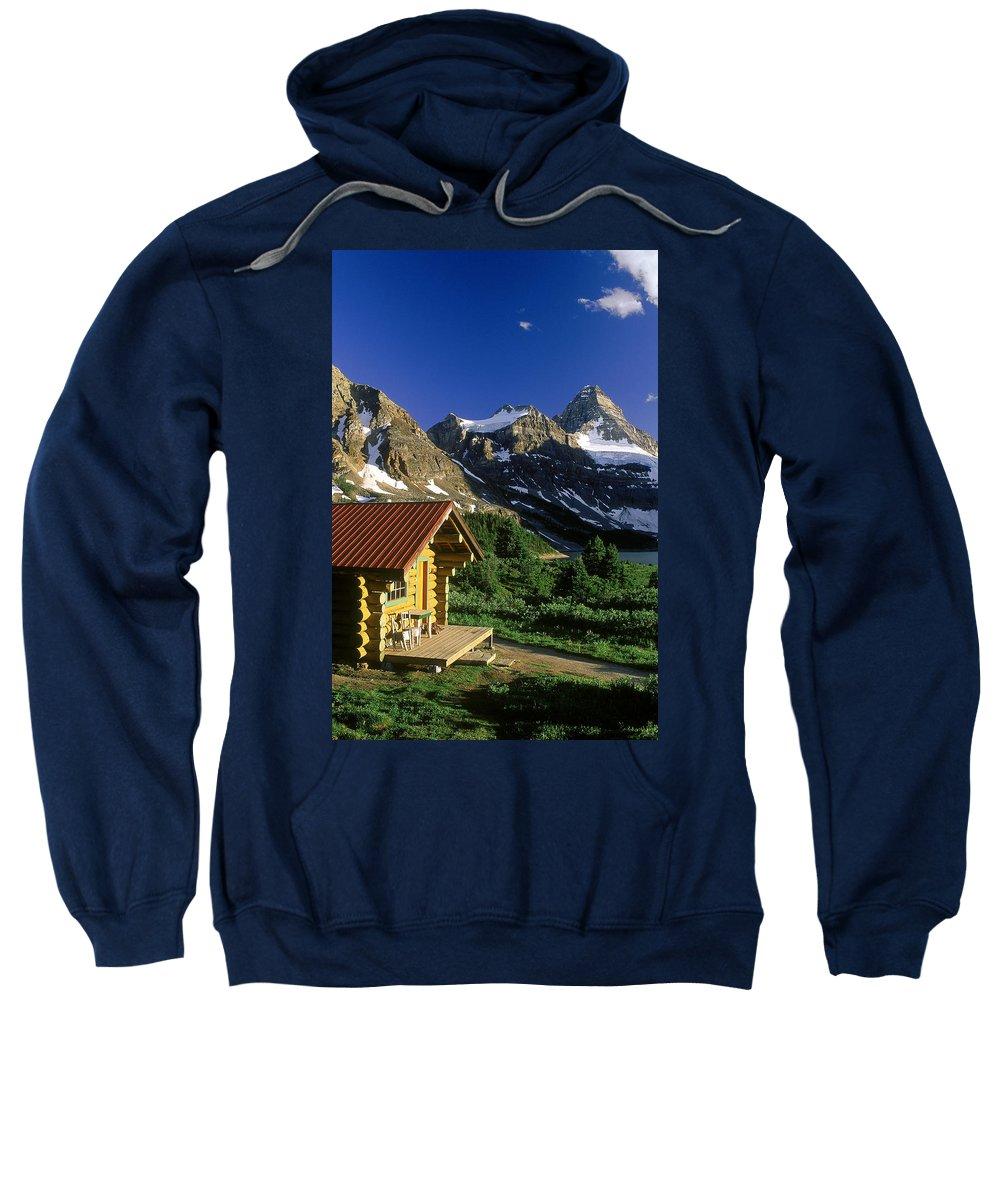 Cabin Sweatshirt featuring the photograph Cabin At Mt Assiniboine Lodge, Mt by David Nunuk