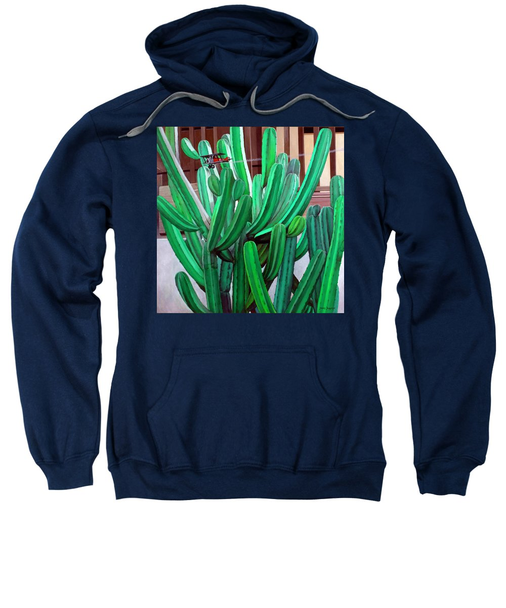 Landscape Sweatshirt featuring the painting Cactus Fly By by Snake Jagger