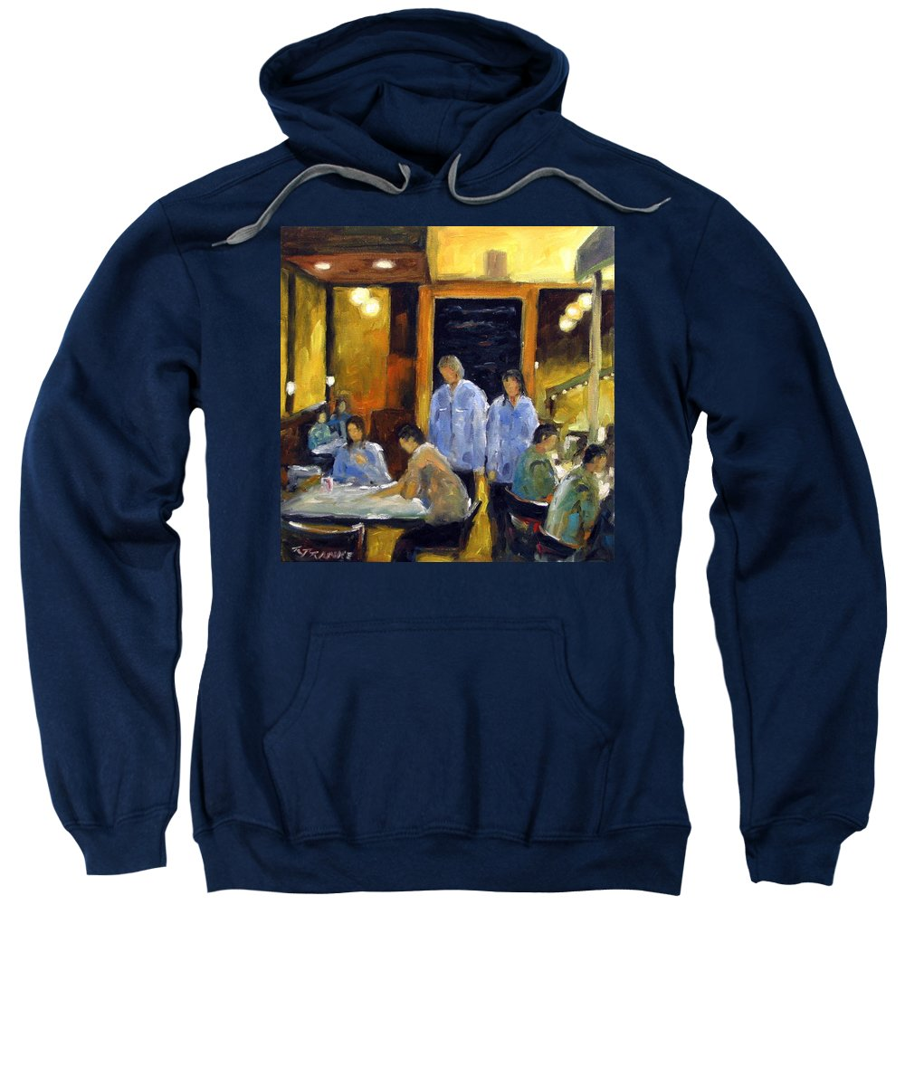 Urban Sweatshirt featuring the painting Cafe Des Artistes by Richard T Pranke