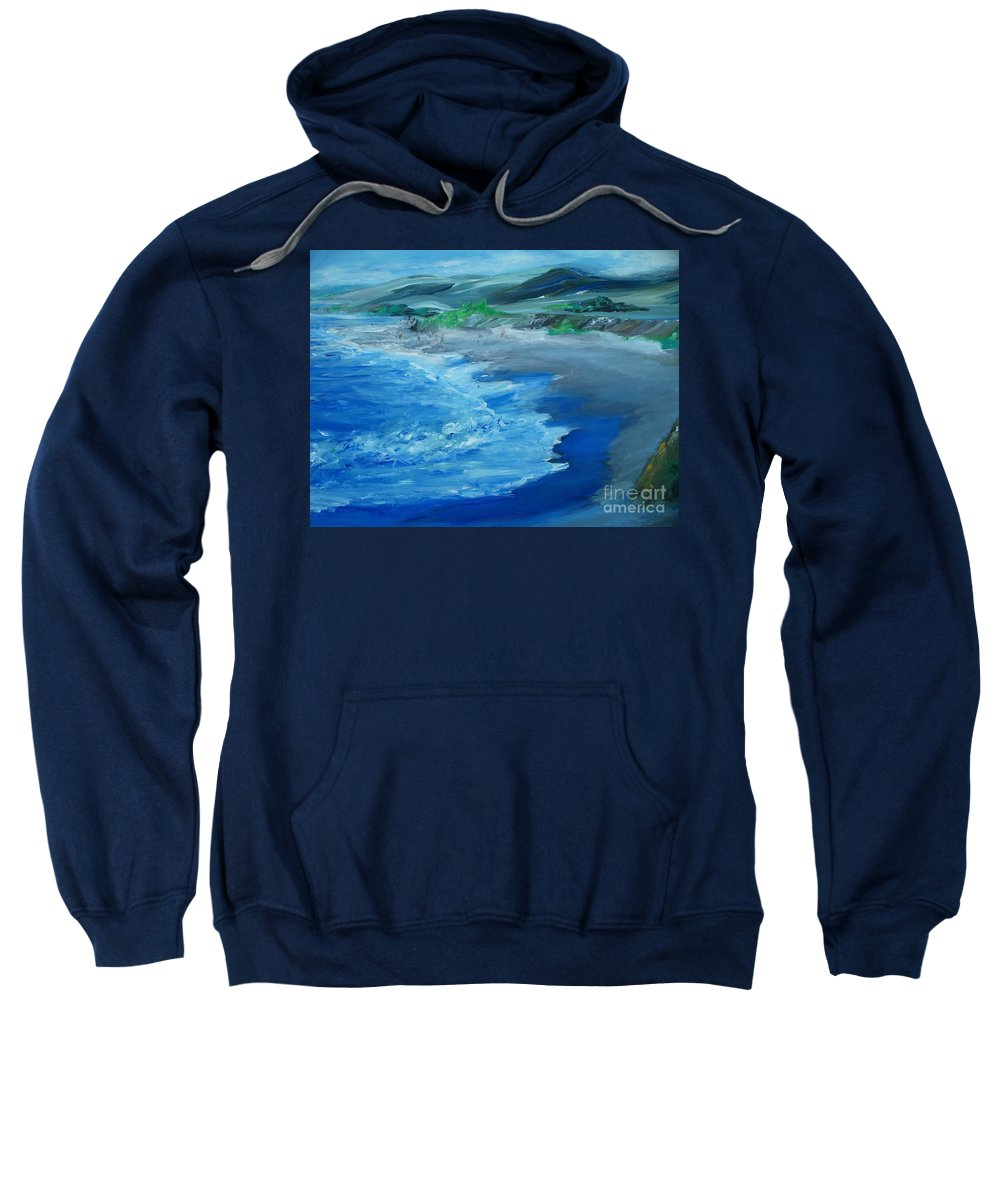 California Coast Sweatshirt featuring the painting California Coastline Impressionism by Eric Schiabor