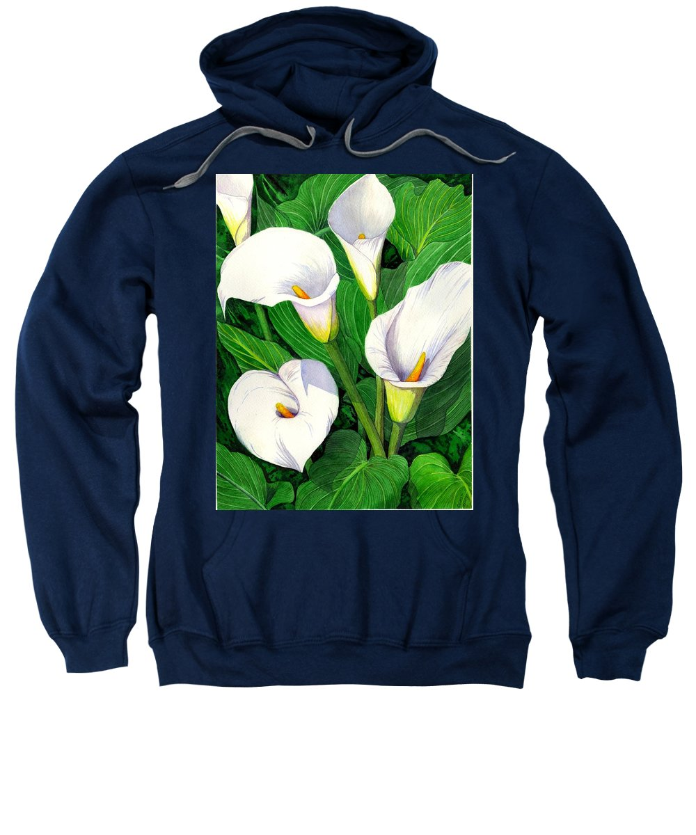 Lily Sweatshirt featuring the painting Calla Lilies by Catherine G McElroy