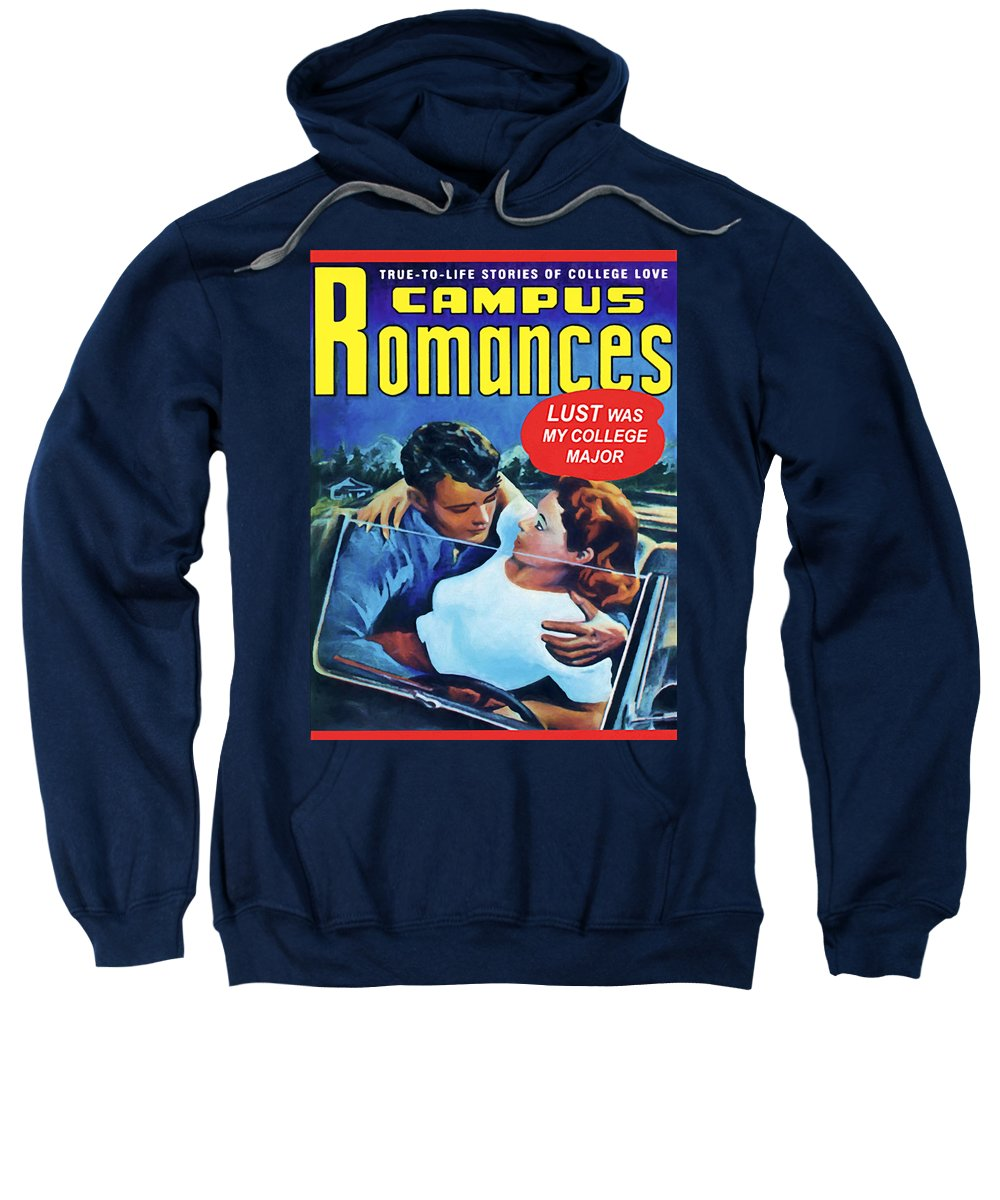 Campus Sweatshirt featuring the painting Campus Romances by Dominic Piperata