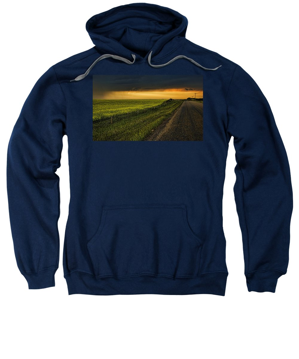 Canola Sweatshirt featuring the photograph Canola And The Road Ahead by Wayne Sherriff