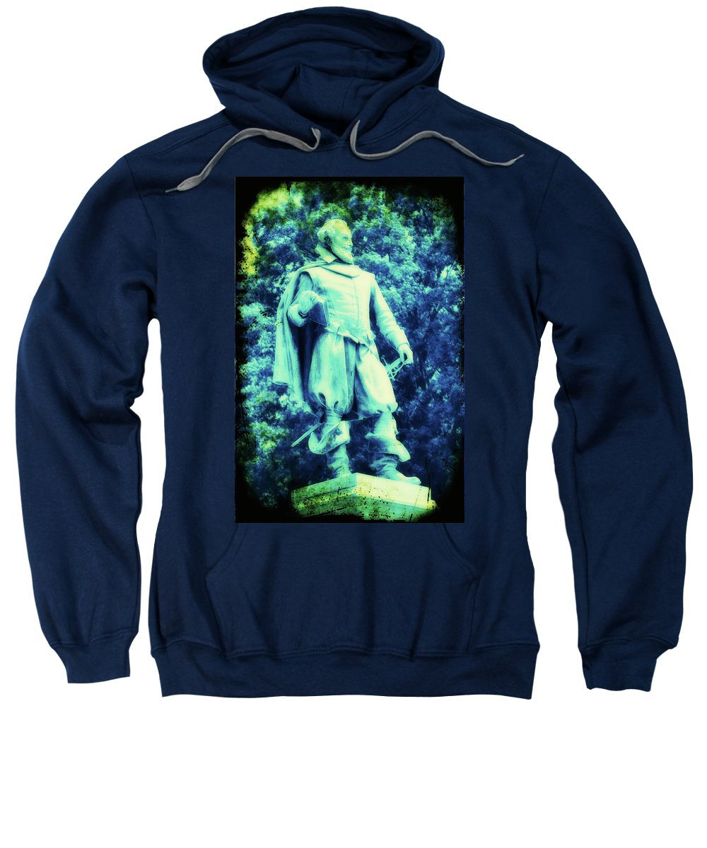 Captain Sweatshirt featuring the photograph Captain John Smith - Jamestown Virginia by Bill Cannon
