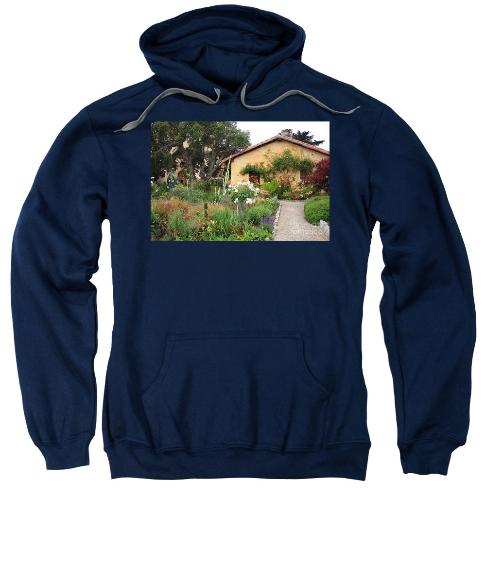 Carmel Sweatshirt featuring the photograph Carmel Mission With Path by Carol Groenen