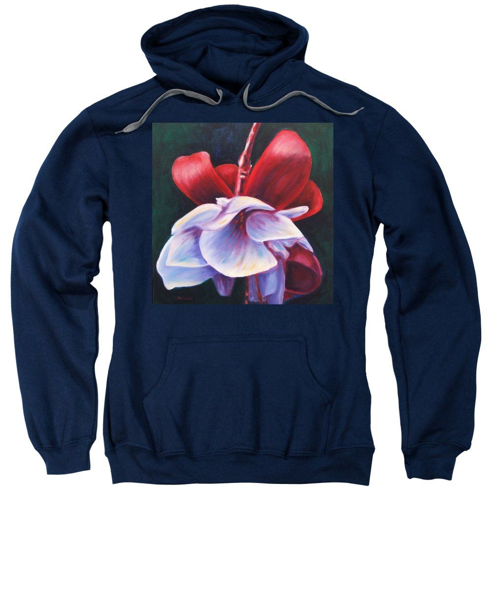 Fuchsia Sweatshirt featuring the painting Casey's Way by Shannon Grissom