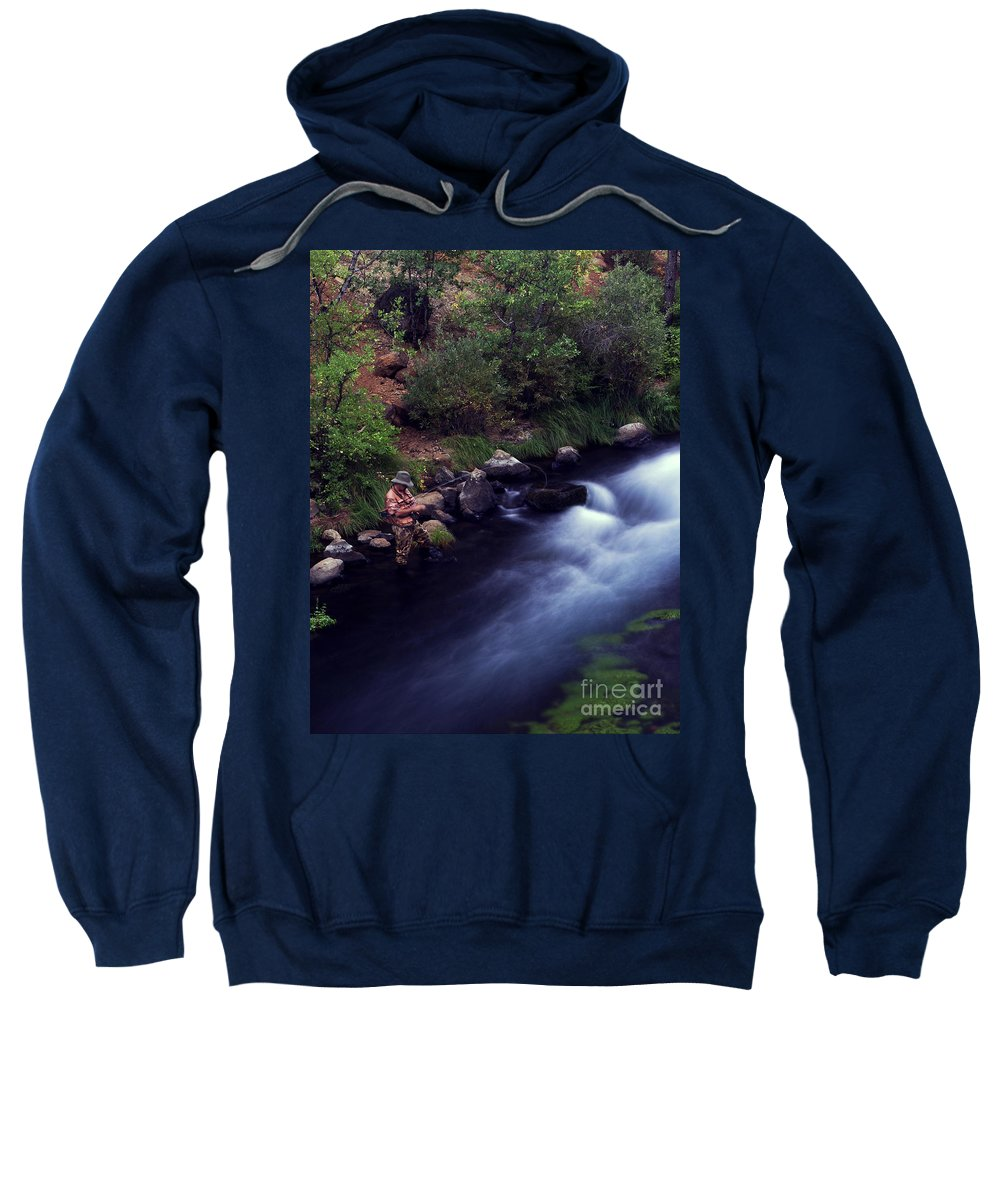 Fishing Sweatshirt featuring the photograph Casting Softly by Peter Piatt