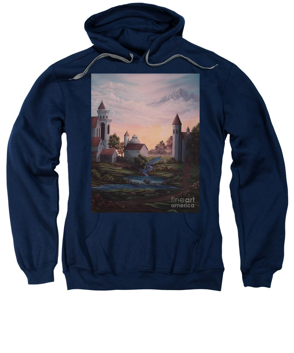 Buildings Sweatshirt featuring the painting Castle 1 by Greg Reichert
