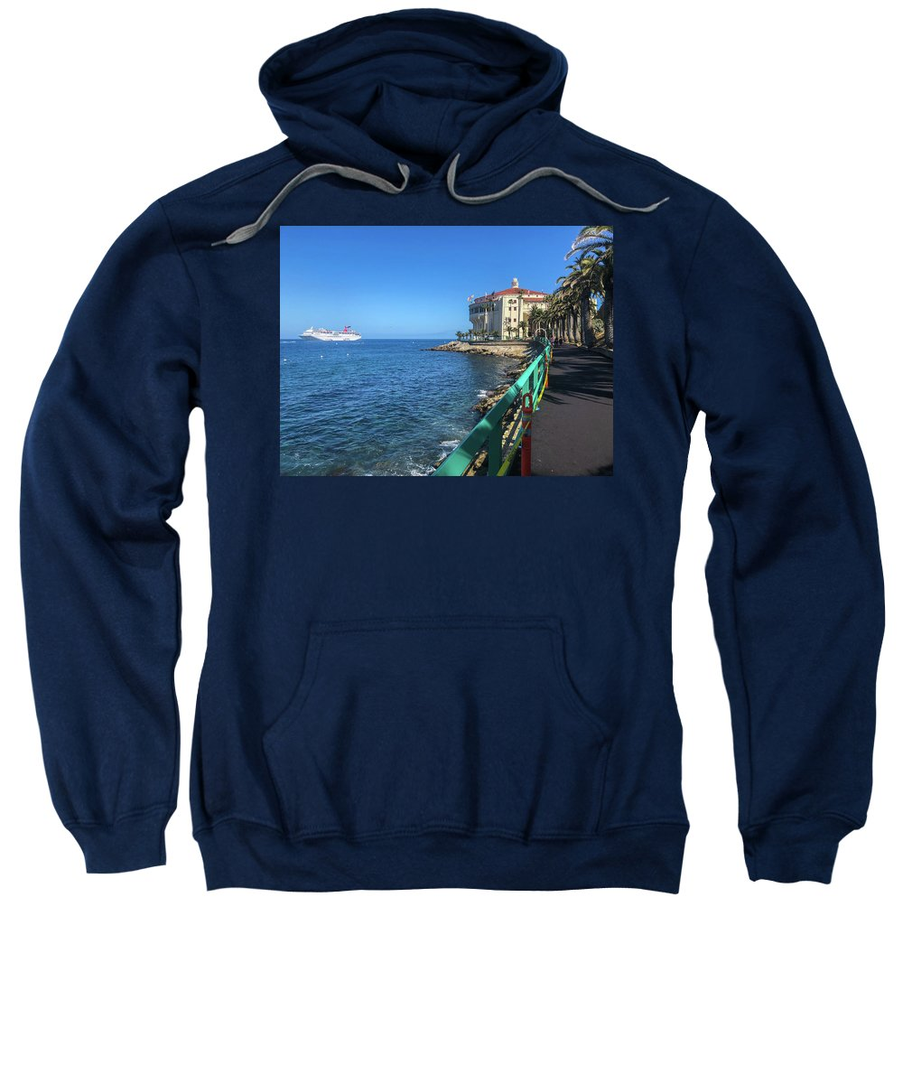 Outdoor Sweatshirt featuring the photograph Catalina Casino by Dave Muesbeck