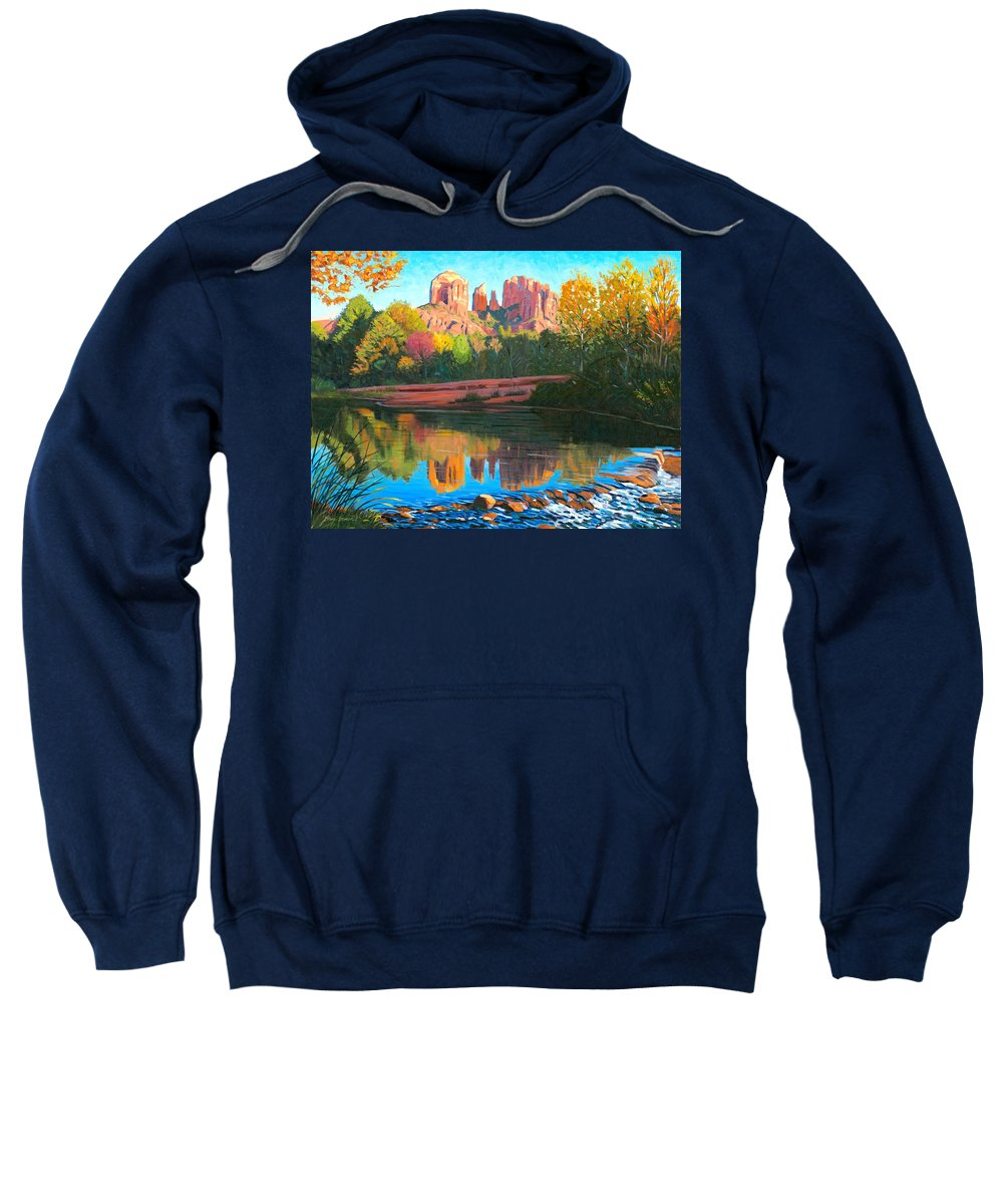 Oak Creek Sweatshirt featuring the painting Cathedral Rock - Sedona by Steve Simon