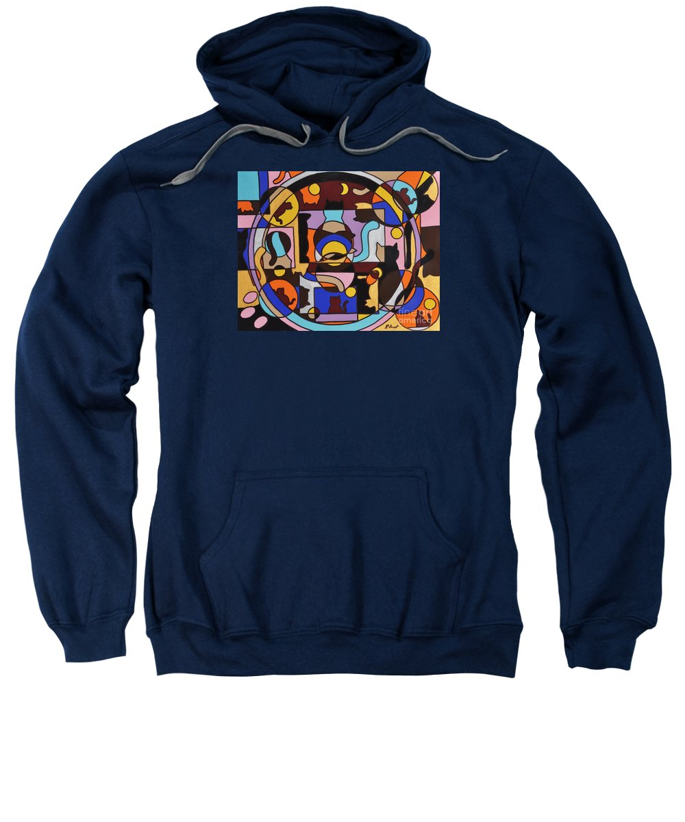 Cats Geometric Colorful Abstract Sweatshirt featuring the painting Cats In Focus by Reb Frost
