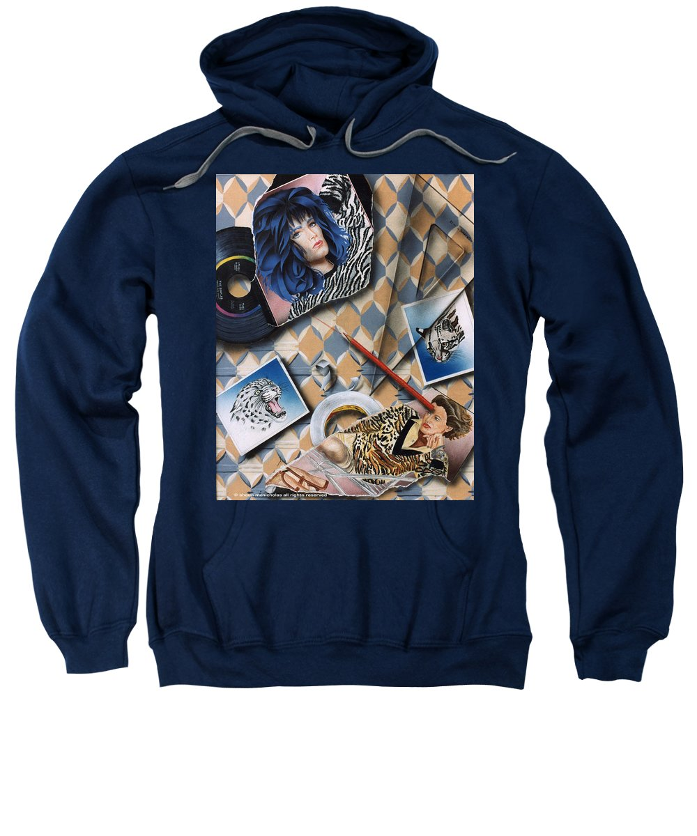 Cats Sweatshirt featuring the painting Cats by Shaun McNicholas