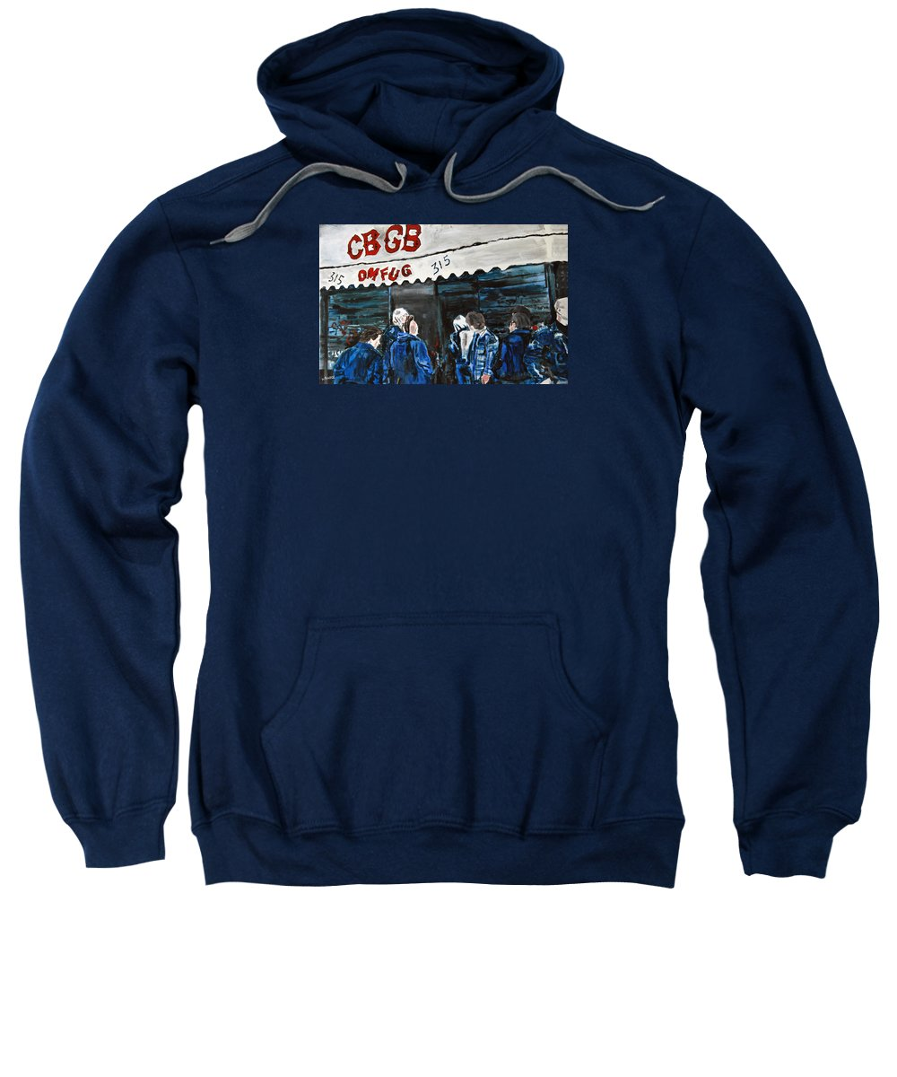 New York City Paintings Sweatshirt featuring the painting Cbgb's by Wayne Pearce