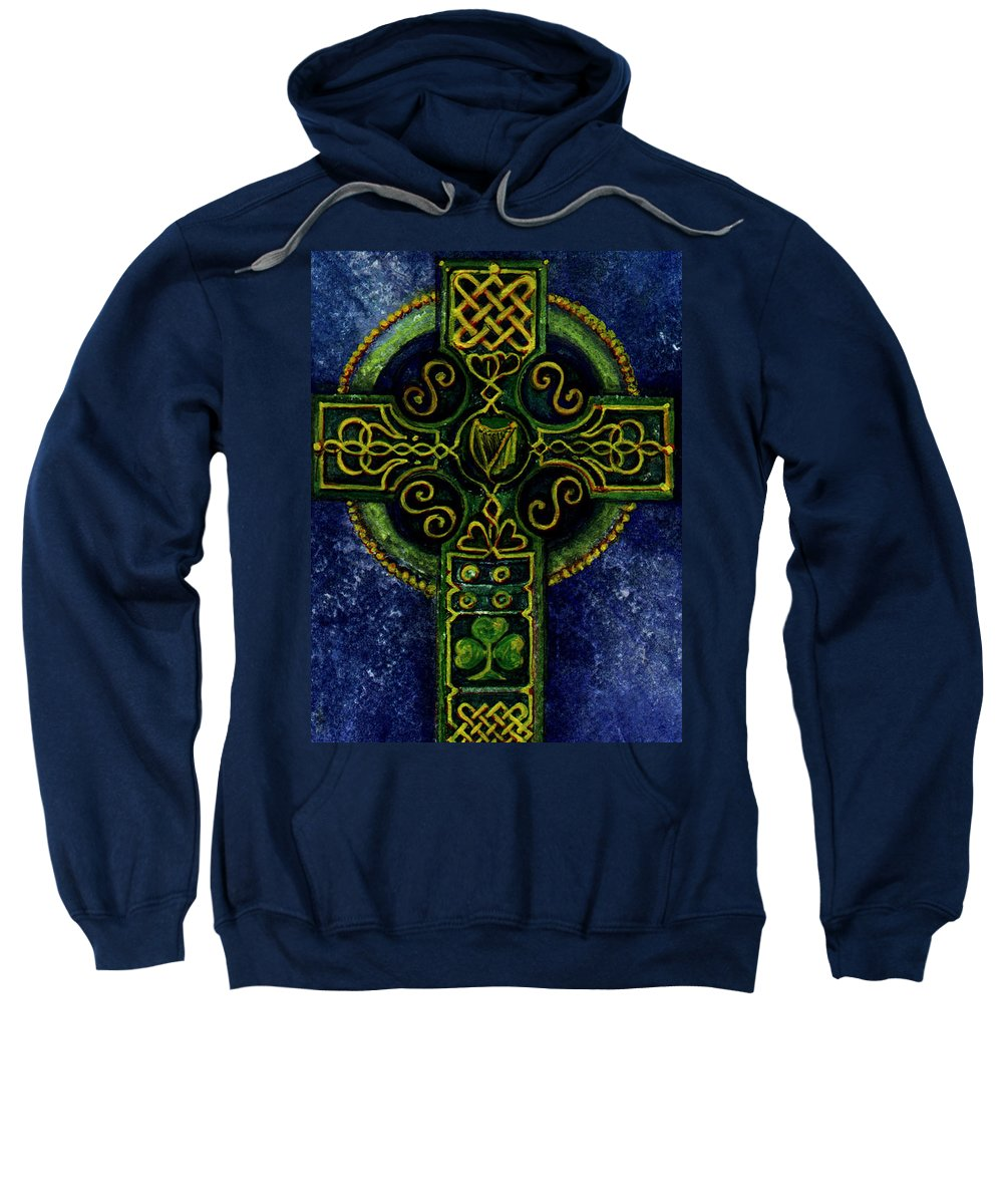 Elle Fagan Sweatshirt featuring the painting Celtic Cross - Harp by Elle Smith Fagan