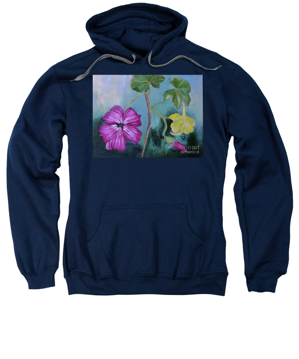 Island Mallow Sweatshirt featuring the painting Channel Islands' Island Mallow by Stacey Best