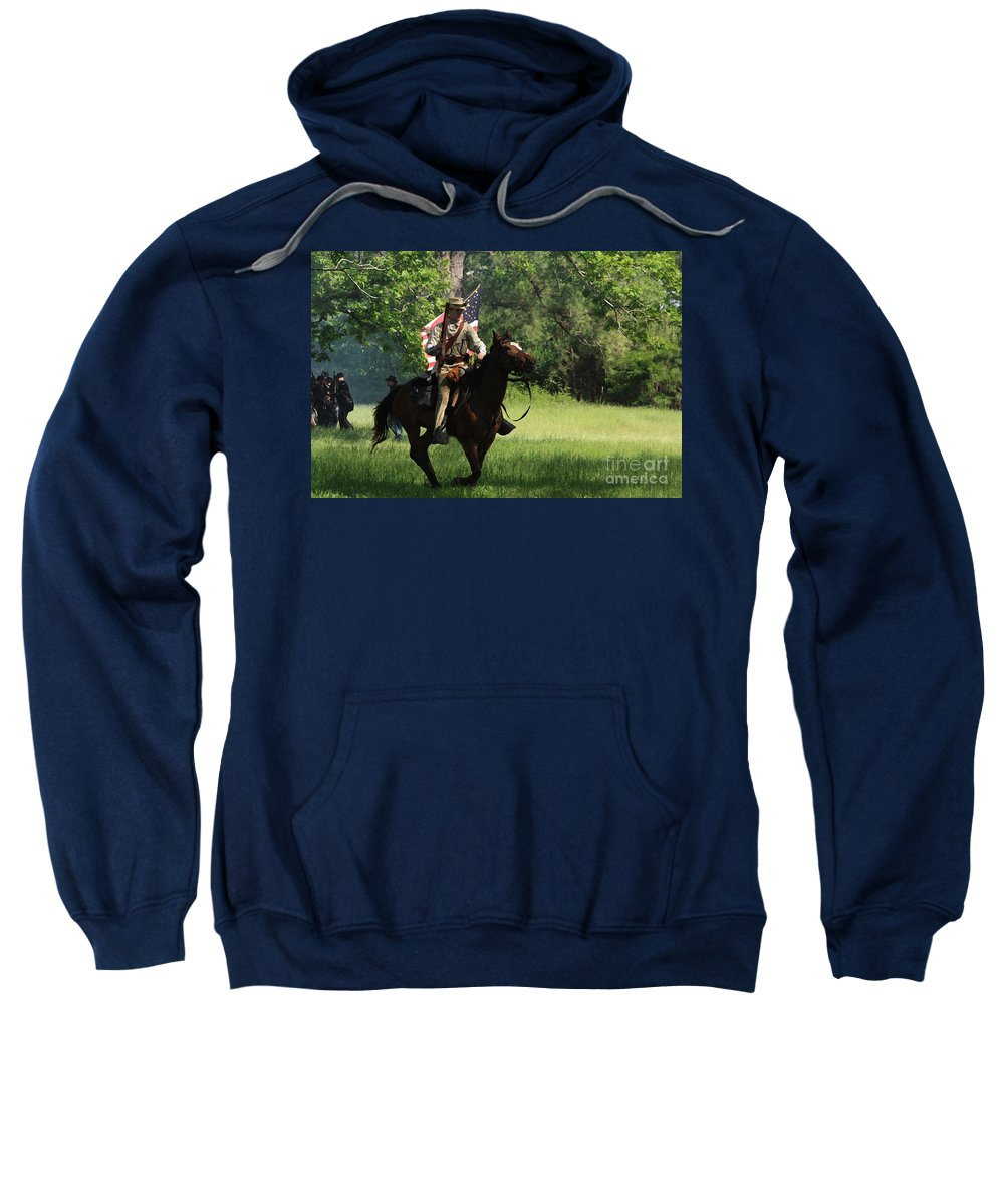 Civil War Re-enactment Sweatshirt featuring the photograph Charging Through by Kim Henderson
