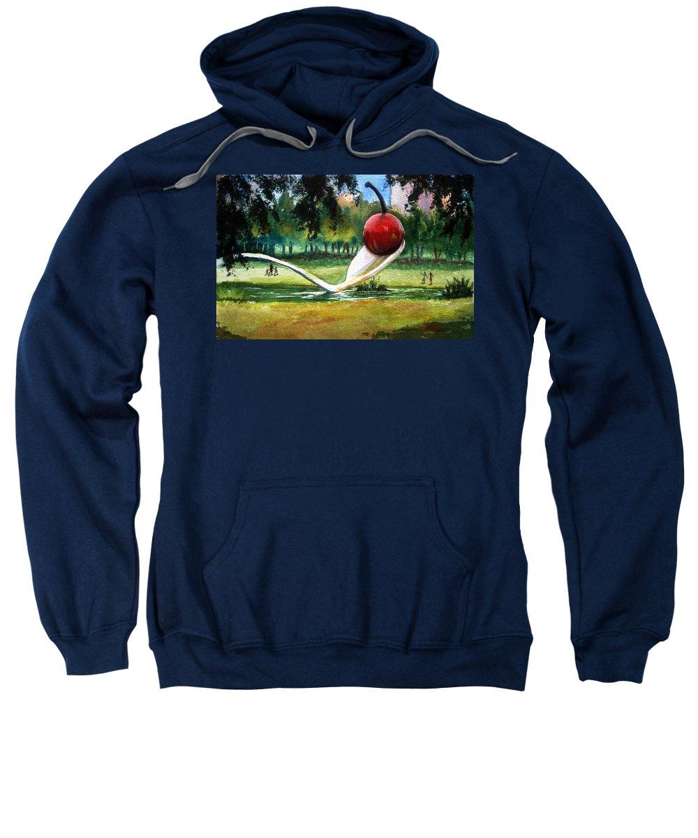 Cherry & Spoon Sweatshirt featuring the painting Cherry And Spoon by Marilyn Jacobson