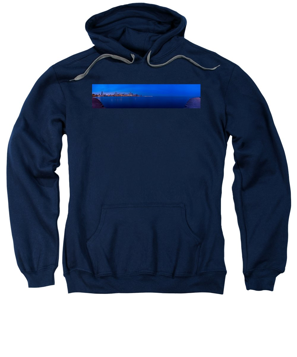 Architecture Sweatshirt featuring the photograph Chicago Lakefront Ultra Wide Hd by Steve Gadomski