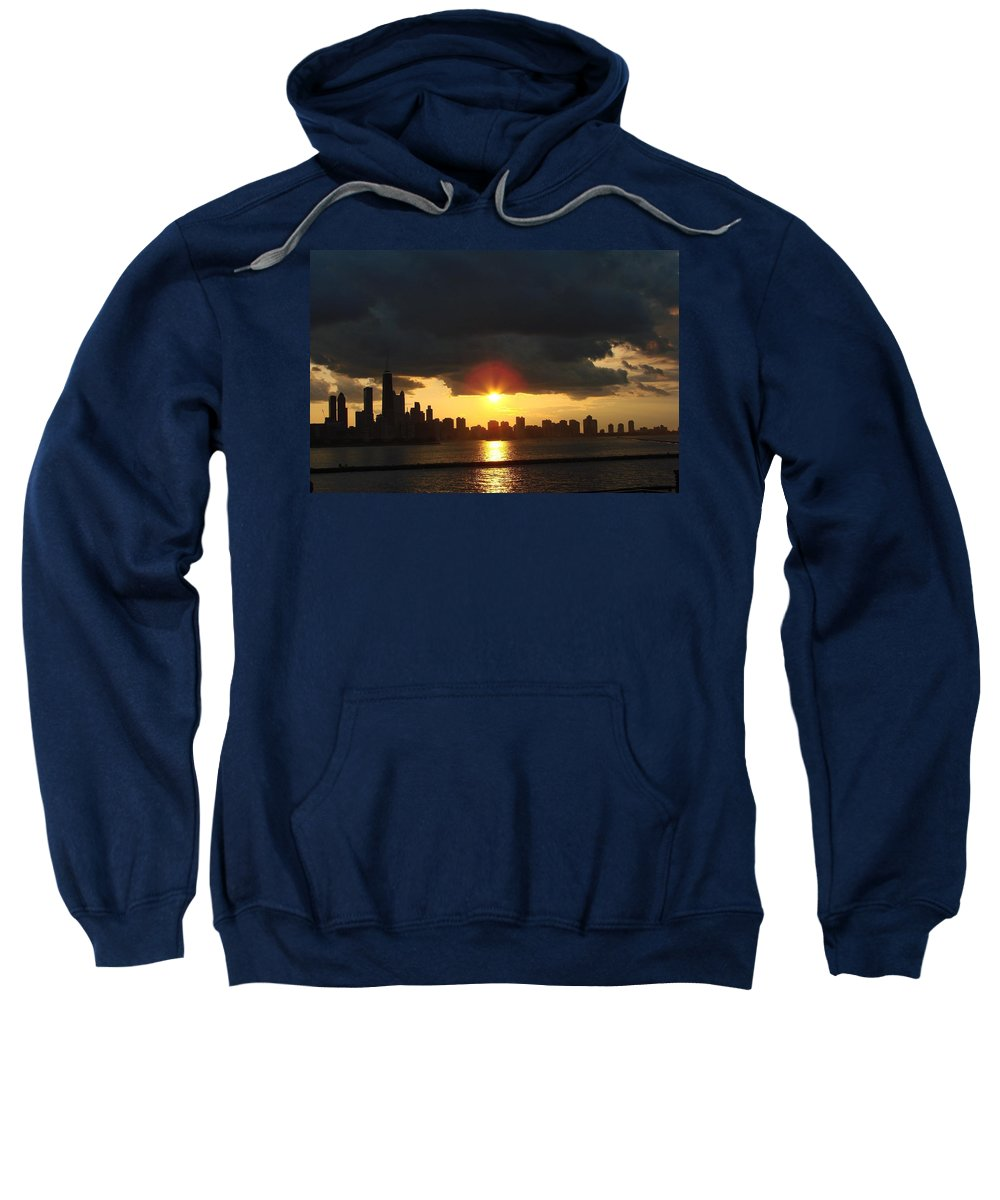 Chicago Sweatshirt featuring the photograph Chicago Silhouette by Glory Fraulein Wolfe