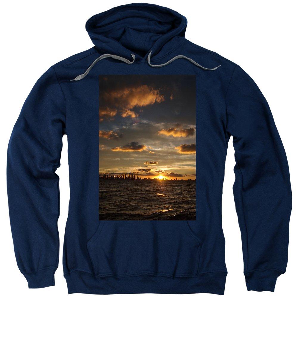Boat Sweatshirt featuring the photograph Chicago Skyline Sunset by Steve Gadomski