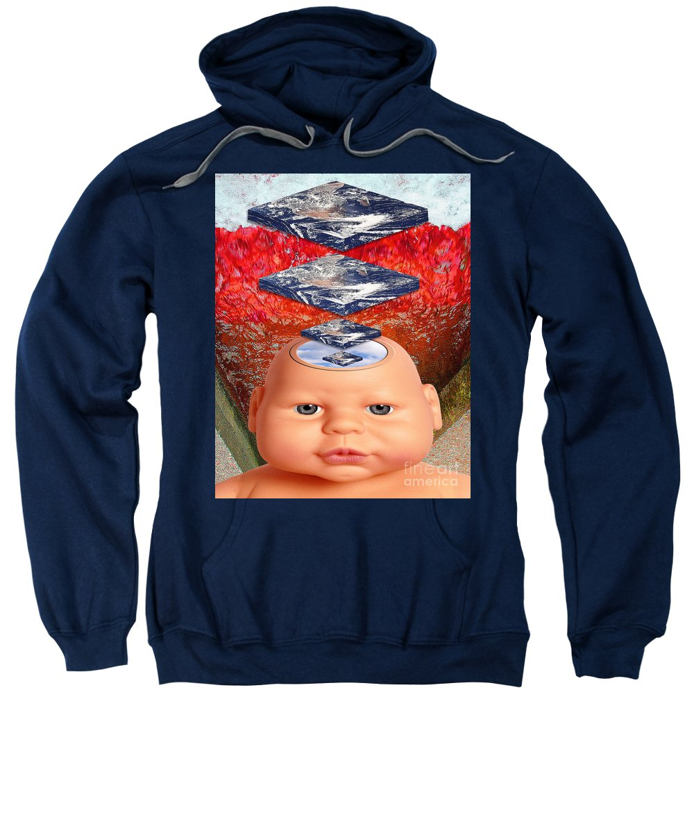 Red Sweatshirt featuring the digital art Child In Flat Worlds by Keith Dillon