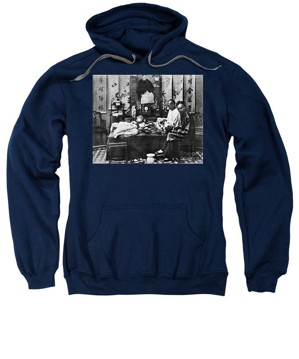1880 Sweatshirt featuring the photograph China: Opium Smokers by Granger