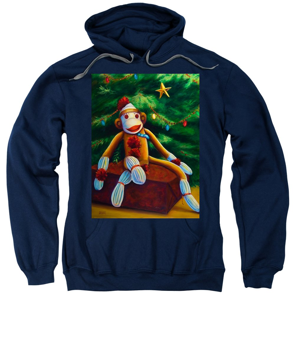 Sock Monkey Sweatshirt featuring the painting Christmas Made Of Sockies by Shannon Grissom