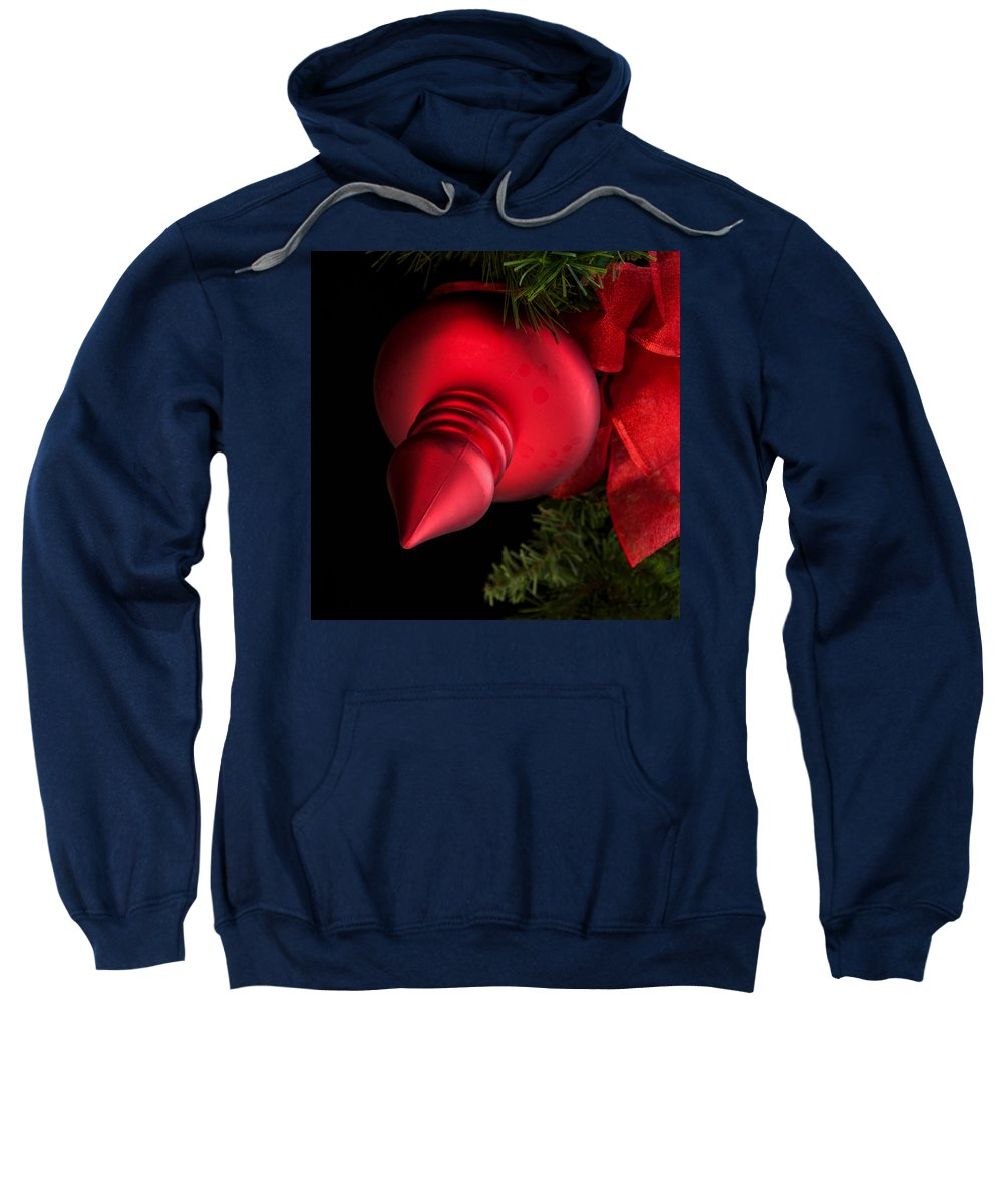 Christmas Sweatshirt featuring the photograph Christmas Tradition - Red Ornament And Ribbon by Mitch Spence