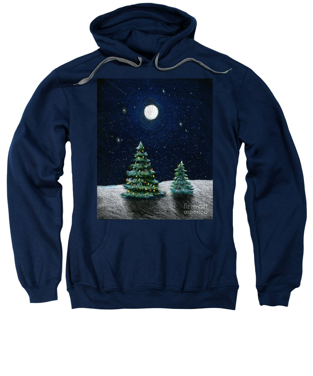 Christmas Trees Sweatshirt featuring the drawing Christmas Trees In The Moonlight by Nancy Mueller