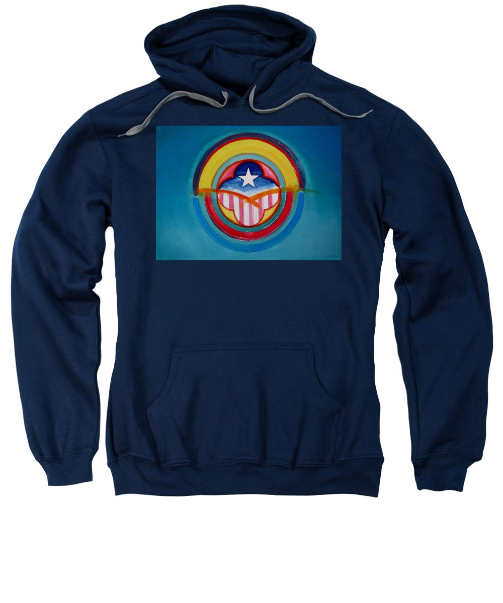 Button Sweatshirt featuring the painting CIA by Charles Stuart