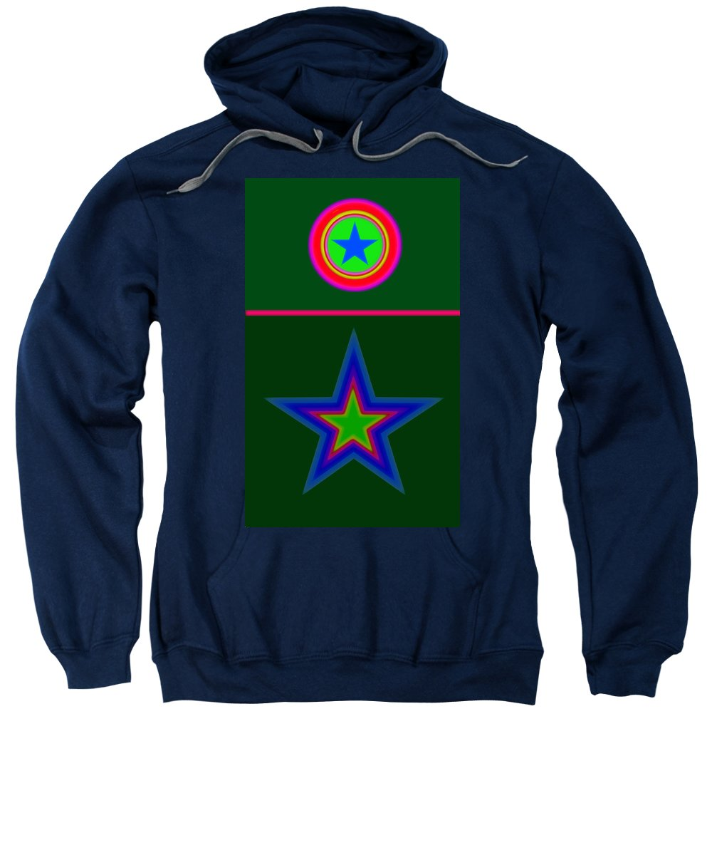 Circus Sweatshirt featuring the digital art Circus Green by Charles Stuart