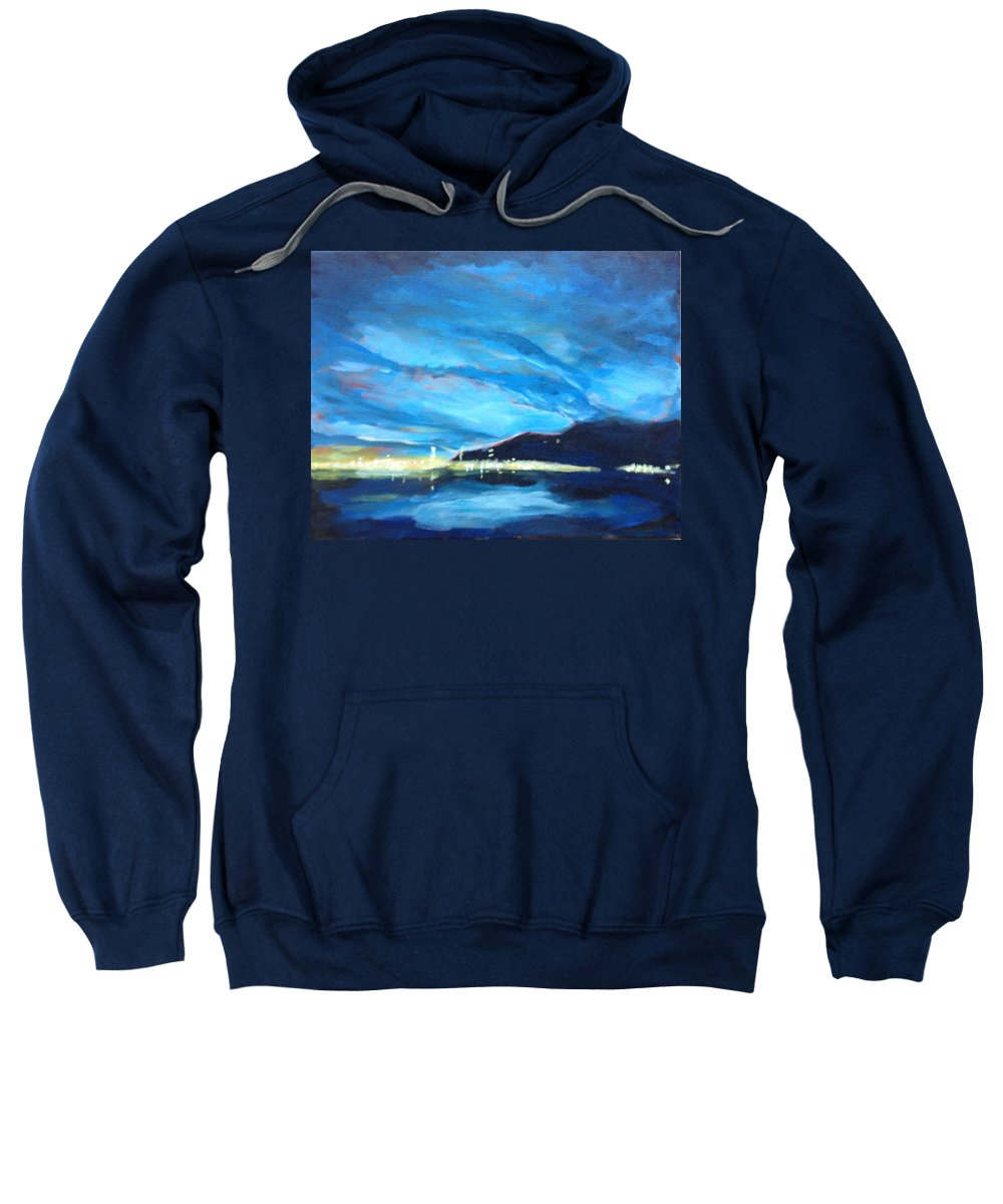 Landscape Sweatshirt featuring the painting City By The Sea by Robert Gurgul