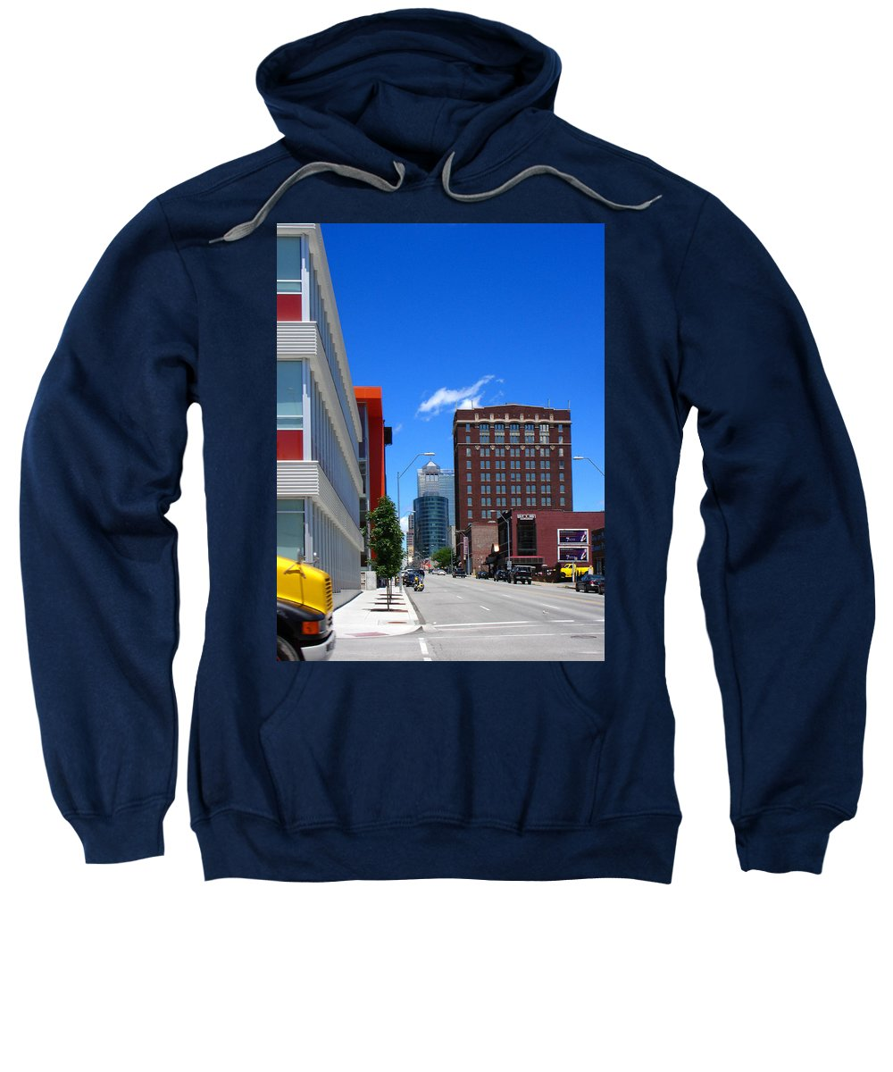 Kansas City Sweatshirt featuring the photograph City Street by Steve Karol