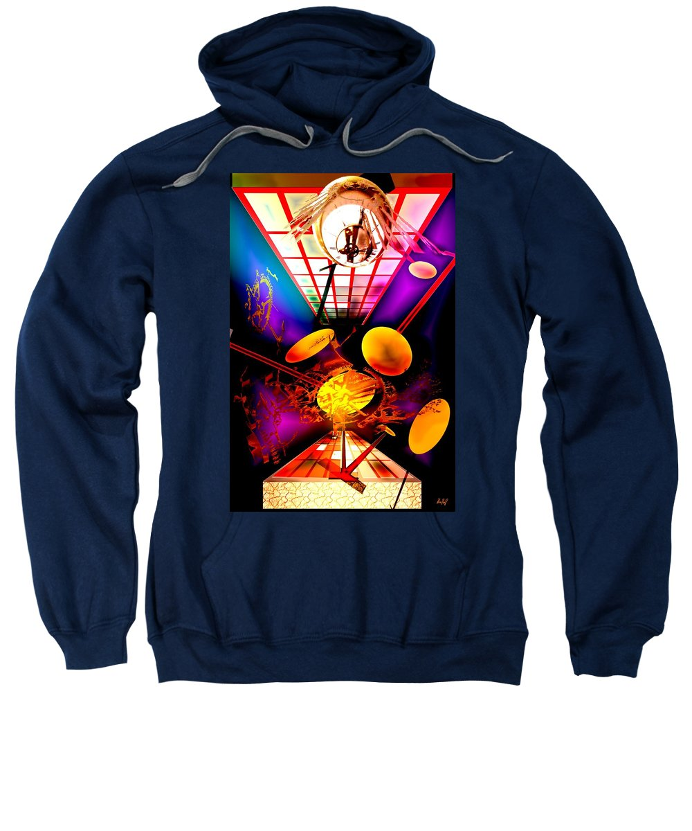 Clock Sweatshirt featuring the digital art Clock-sync by Helmut Rottler