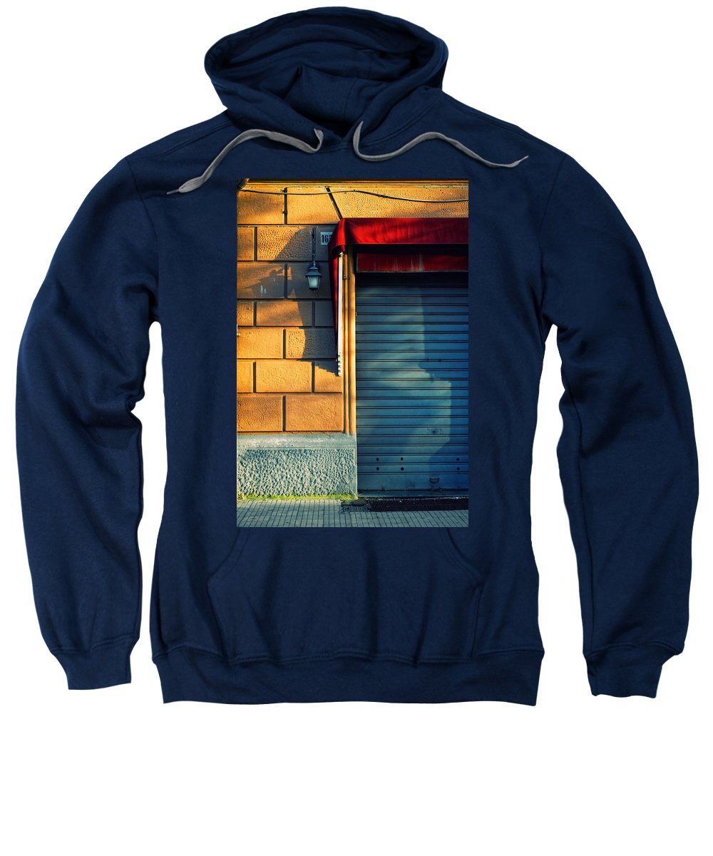 Sunset Sweatshirt featuring the photograph Closed Shop Door At Sunset by Silvia Ganora