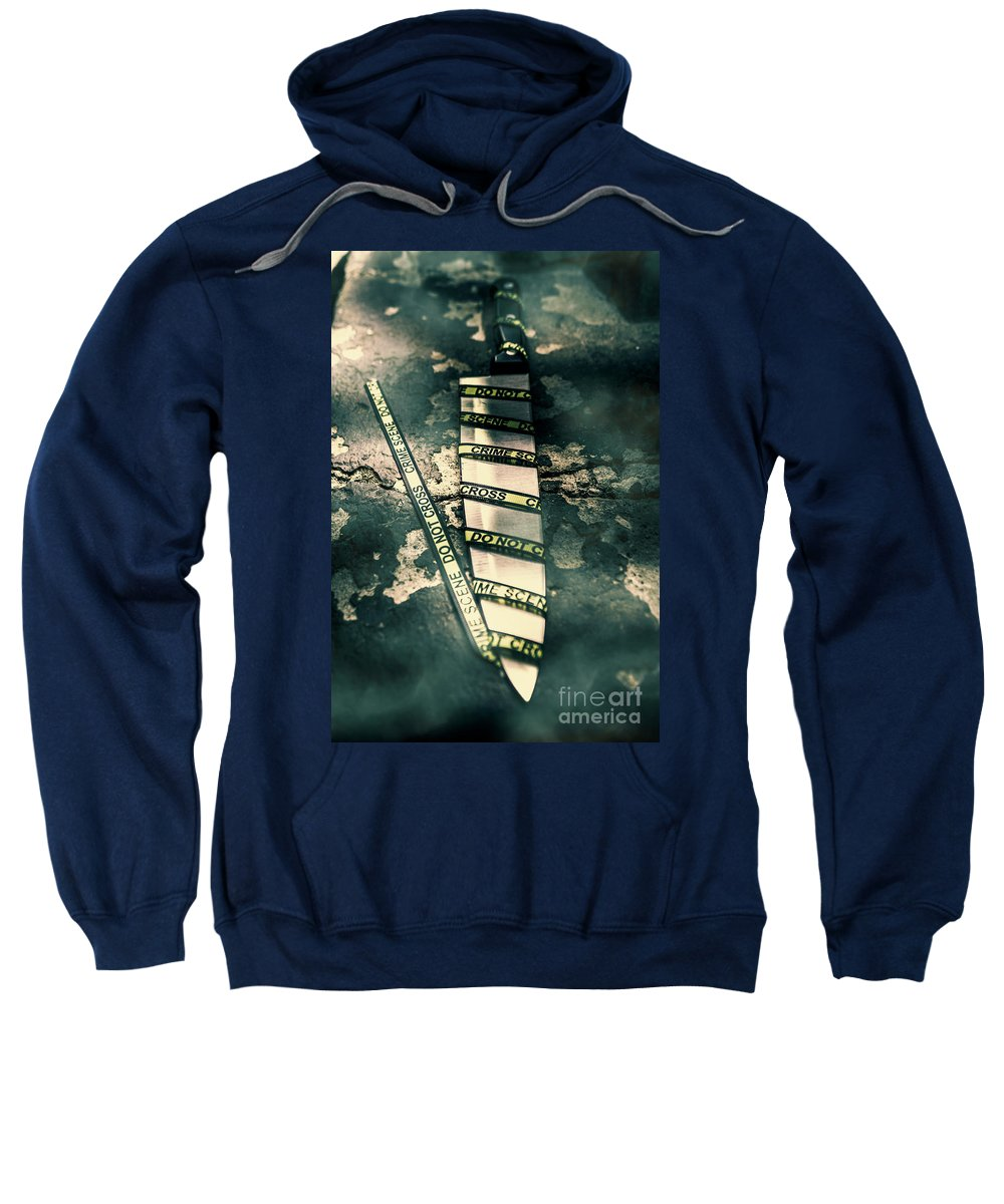 Crime Sweatshirt featuring the photograph Closeup Of Knife Wrapped With Do Not Cross Tape On Floor by Jorgo Photography - Wall Art Gallery