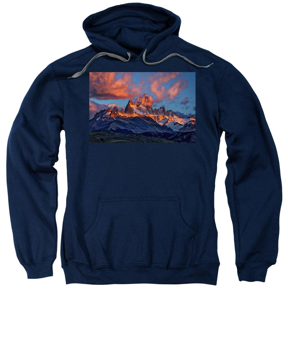 Patagonia Sweatshirt featuring the photograph Clouds Around Fitz Roy - Patagonia by Stuart Litoff