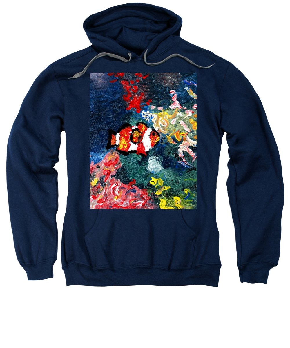 Fish Sweatshirt featuring the painting Clownfish by Luiza Vizoli