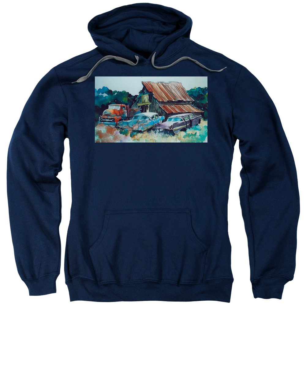Ford Cabover Sweatshirt featuring the painting Cluster of Restorables by Ron Morrison