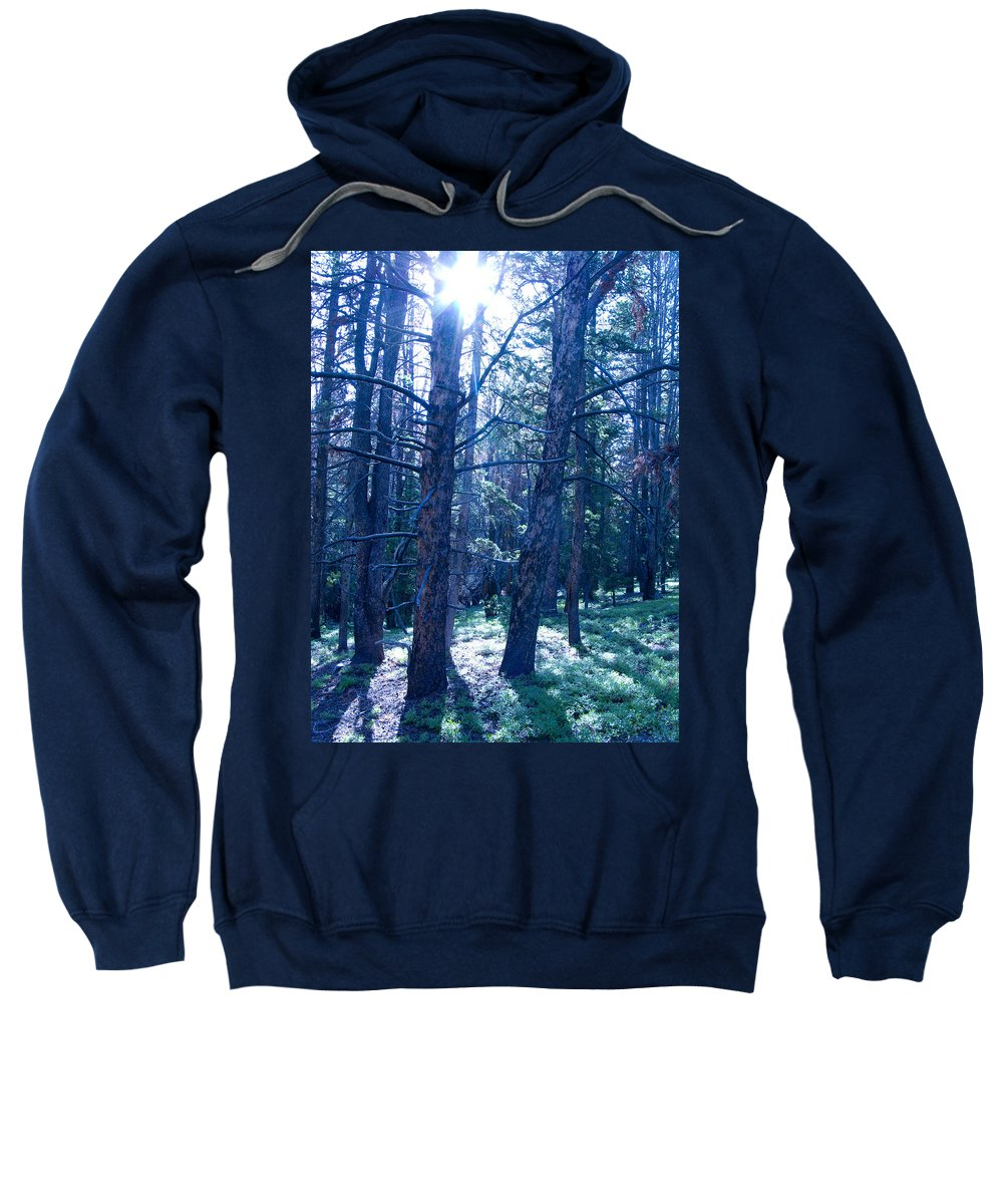 Blue Sweatshirt featuring the photograph Cold Mountain Light by Jeffery Ball