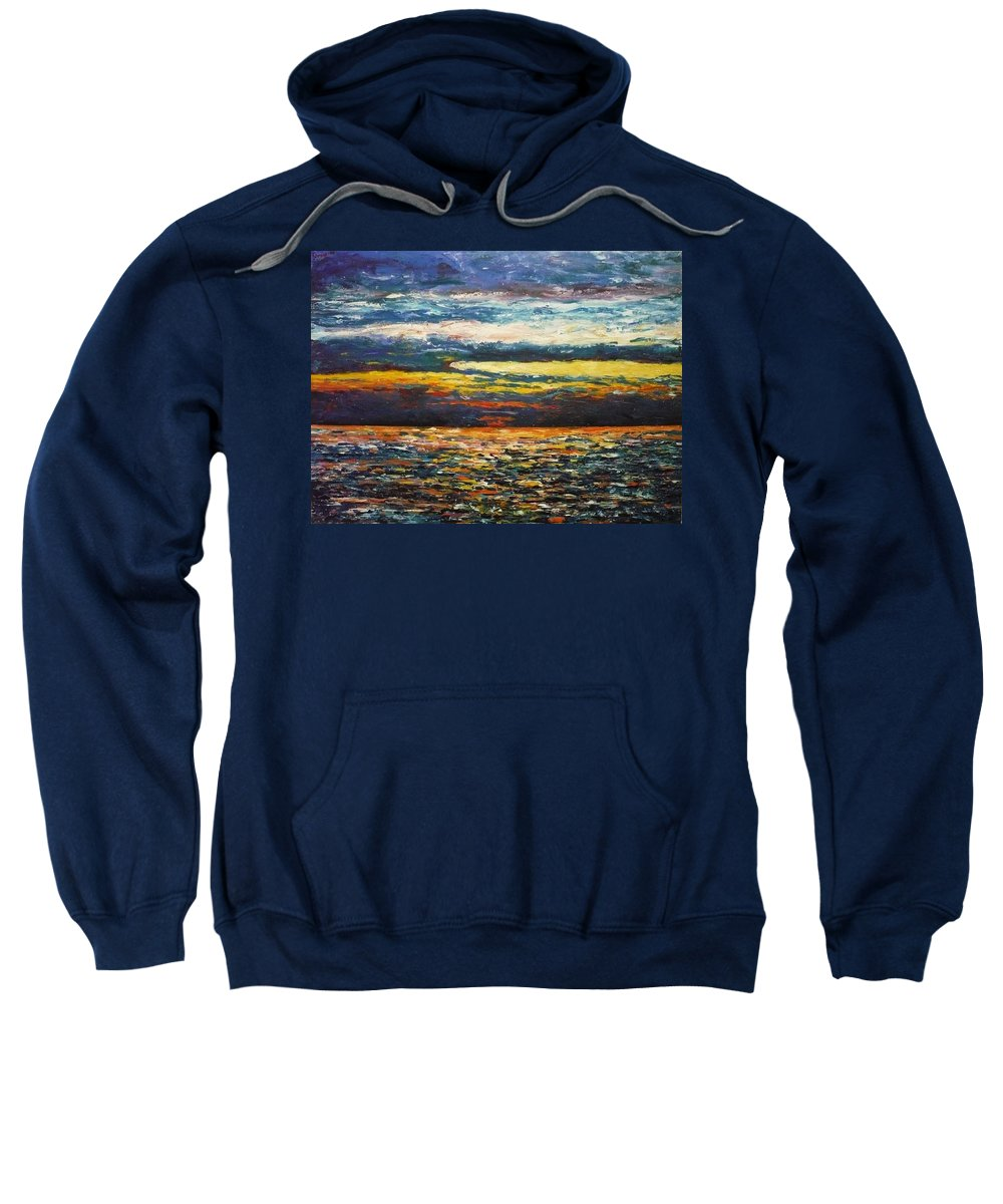 Landscape Sweatshirt featuring the painting Cold Sunset by Ericka Herazo