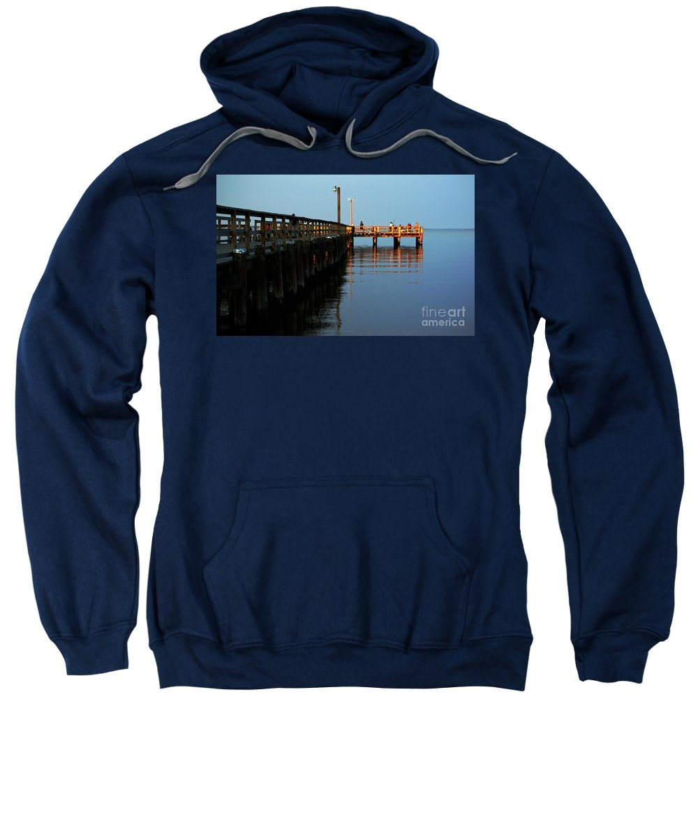 Clay Sweatshirt featuring the photograph Colonial Beach Town Pier by Clayton Bruster