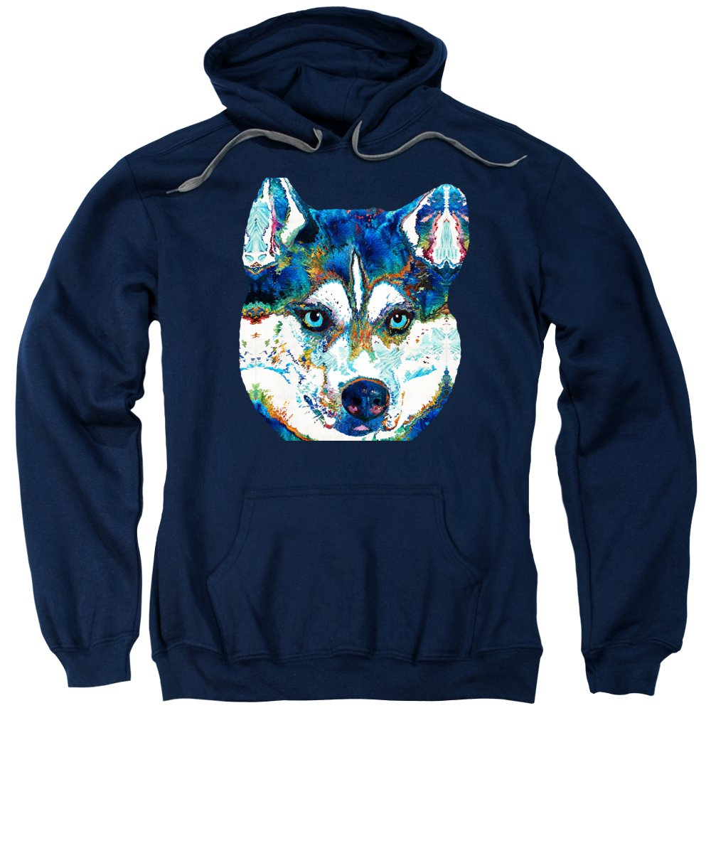 Husky Sweatshirt featuring the painting Colorful Husky Dog Art By Sharon Cummings by Sharon Cummings