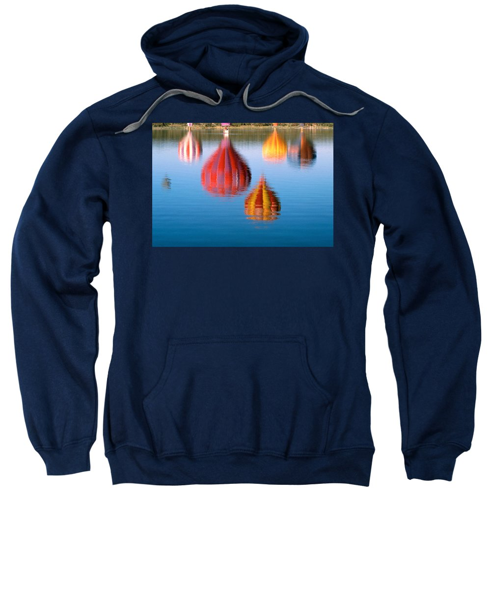 Hot Air Balloons Sweatshirt featuring the photograph Colorful Reflections by Jerry McElroy