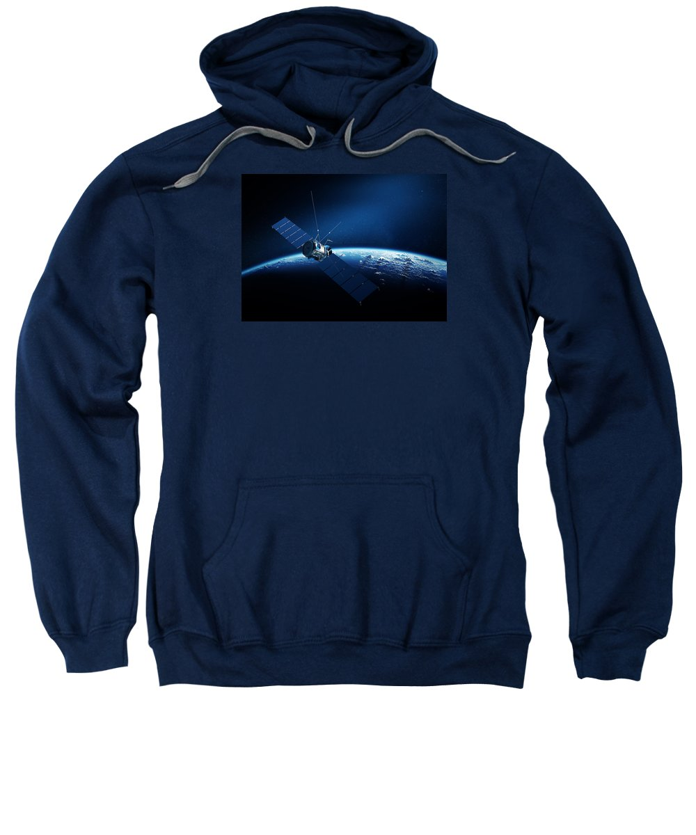 Satellite Sweatshirt featuring the digital art Communications Satellite Orbiting Earth by Johan Swanepoel