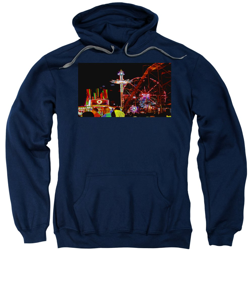Coney Island Sweatshirt featuring the photograph Coney Island Opening Day In Brooklyn New York by Kendall Eutemey
